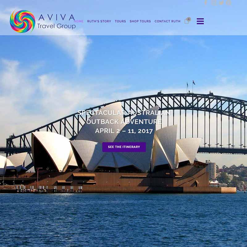 Aviva Travel Group Website Design Home Page | GET FOUND ONLINE