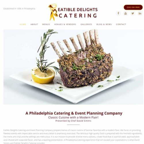 Eatible Delights Catering Website Design Home Page | GET FOUND ONLINE