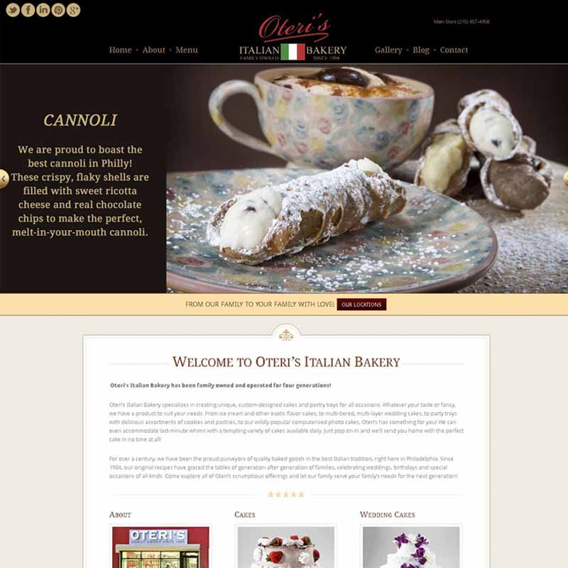 Oteri's Italian Bakery Website Design Home Page | GET FOUND ONLINE