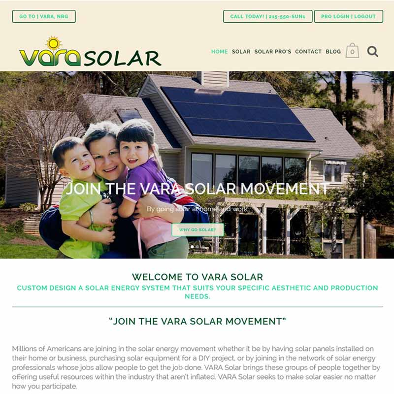 Vara Solar Website Design Home Page | GET FOUND ONLINE